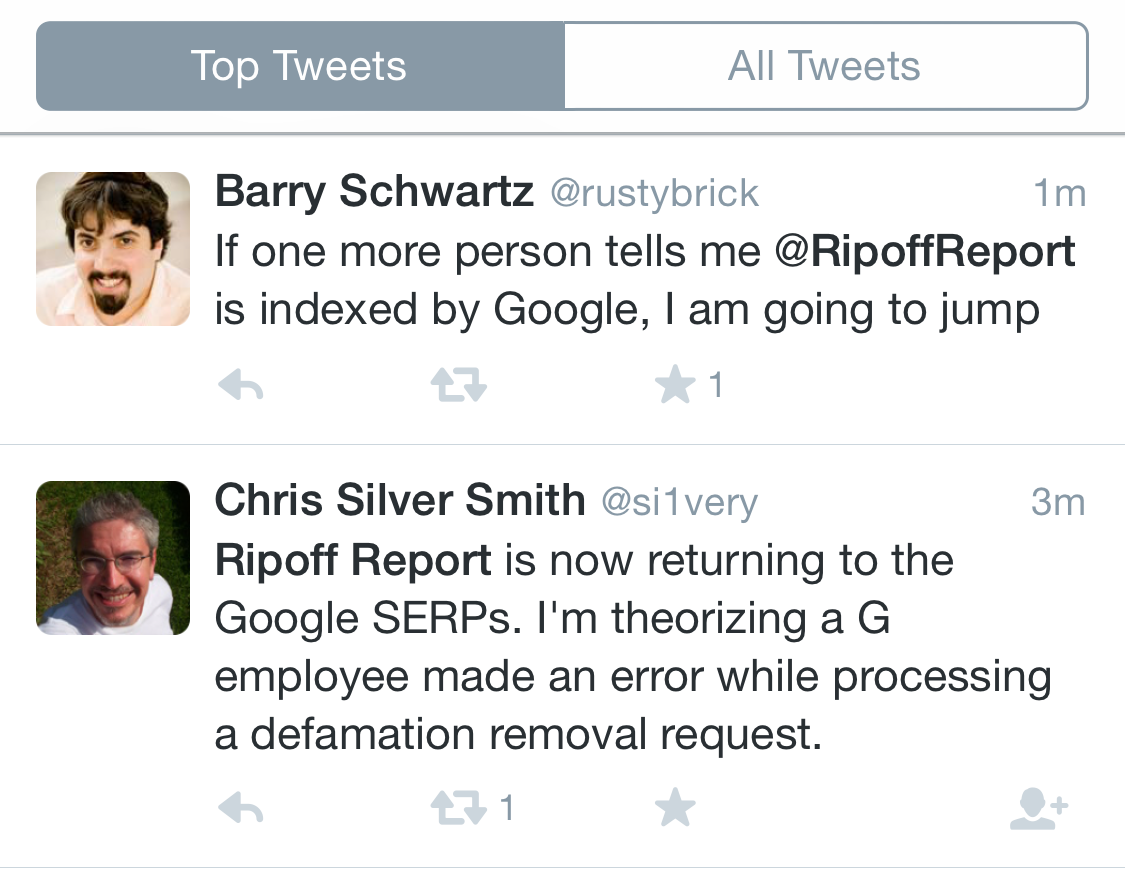 Ripoff Report Indexed Again Twitter Barry Schwartz